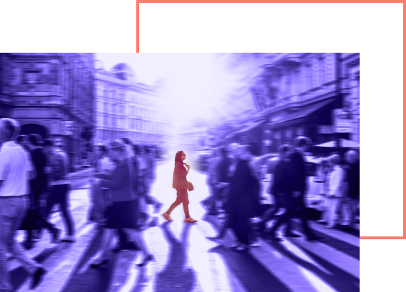 concept photo: human figure highlighted with orange in the purple crowd