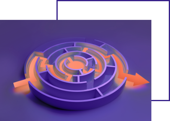 concept photo: arrow shows a path through the maze